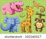 Stock vector cute animals collection 102260317