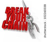 Broken chrome chain on white background, freedom concept image - stock photo