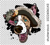 original print with pirate dog. ... | Shutterstock .eps vector #1022606143