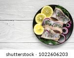 marinated herring fillet with... | Shutterstock . vector #1022606203
