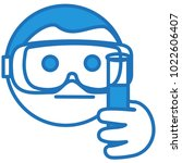 emoji with laboratory assistant ... | Shutterstock .eps vector #1022606407