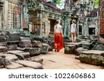 family visiting ancient preah... | Shutterstock . vector #1022606863