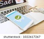 confirmed smartphone order... | Shutterstock . vector #1022617267