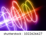 curved  rainbow colored glowing ... | Shutterstock . vector #1022626627