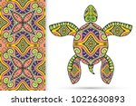 decorative doodle turtle with... | Shutterstock .eps vector #1022630893