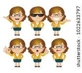 cute set   set of businesswoman ... | Shutterstock .eps vector #1022633797