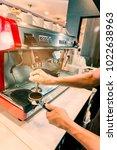 barista prepare a coffee for... | Shutterstock . vector #1022638963