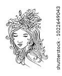 sketchy of beautiful woman with ... | Shutterstock .eps vector #1022649043