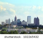 Daytime shot of Atlanta Georgia with cloudscape. - stock photo