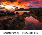 beautiful sunset sky with... | Shutterstock . vector #1022681113