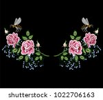 rose flowers embroidery with... | Shutterstock .eps vector #1022706163