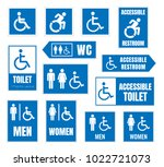 accesible restroom signs ... | Shutterstock .eps vector #1022721073