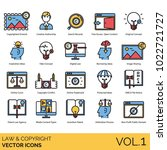 law   copyright icons. artwork  ... | Shutterstock .eps vector #1022721727