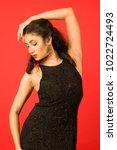 beautiful female model in black ... | Shutterstock . vector #1022724493
