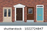 front doors brick wall house... | Shutterstock .eps vector #1022724847