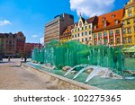 Wroclaw City center, Fountain and Market Square tenements - stock photo