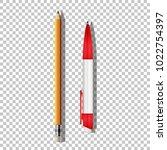 vector realistic ballpoint pen... | Shutterstock .eps vector #1022754397