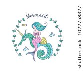 mermaid  mythological creature. ... | Shutterstock .eps vector #1022758327