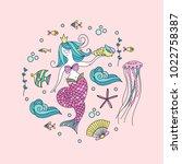 mermaid  mythological creature. ... | Shutterstock .eps vector #1022758387