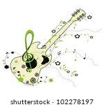 guitar   green floral  ornament | Shutterstock . vector #102278197