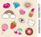 cute colourful girl vector... | Shutterstock .eps vector #1022788177