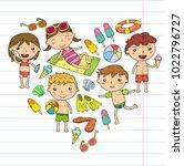 little children play. summer... | Shutterstock .eps vector #1022796727
