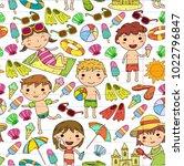 little children play. summer... | Shutterstock .eps vector #1022796847