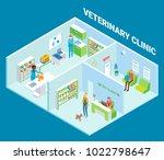 veterinary clinic cutaway... | Shutterstock .eps vector #1022798647