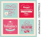 colorful valentines day grunge... | Shutterstock .eps vector #1022799013