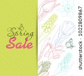 spring sale background with... | Shutterstock .eps vector #1022809867