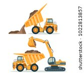 dump truck with body full of... | Shutterstock .eps vector #1022813857