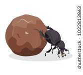 big dung beetle that pushes big ... | Shutterstock .eps vector #1022813863