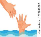 hand of person who drowns stick ... | Shutterstock .eps vector #1022813887
