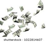flying banknotes of hundred... | Shutterstock . vector #1022814607