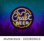 original logo design is a neon... | Shutterstock .eps vector #1022820613