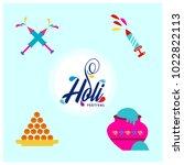 happy holi festival. holi...   Shutterstock .eps vector #1022822113