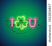 i luck you glowing neon signs... | Shutterstock .eps vector #1022826817