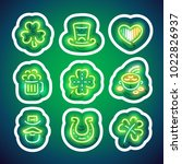 st patricks day glowing neon... | Shutterstock .eps vector #1022826937