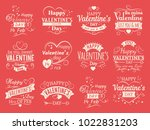 vintage valentines day vector... | Shutterstock .eps vector #1022831203