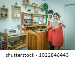 happy asian lover or couple... | Shutterstock . vector #1022846443