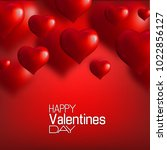 valentine's day with red 3d... | Shutterstock .eps vector #1022856127