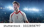 happy soccer player celebrate a ... | Shutterstock . vector #1022858797