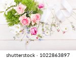 bouquet of roses  anemones and... | Shutterstock . vector #1022863897