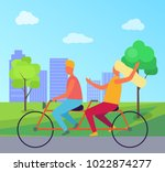 happy man and woman riding... | Shutterstock .eps vector #1022874277