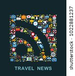 travel icons are grouped in rss ... | Shutterstock .eps vector #1022881237