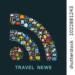 travel icons are grouped in rss ... | Shutterstock .eps vector #1022881243