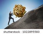 sisyphus metaphore. young...   Shutterstock . vector #1022895583
