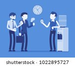 office cooler chat. young male...   Shutterstock .eps vector #1022895727