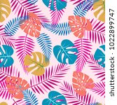 tropical pattern with colored... | Shutterstock .eps vector #1022899747