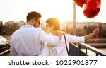 beautiful couple in love at... | Shutterstock . vector #1022901877